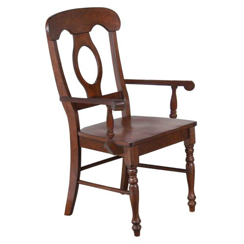 Andrews Dining - Napoleon Arm Chair finished in Chestnut brown - angled three-quarter view DLU-ADW-C50A-CT-2