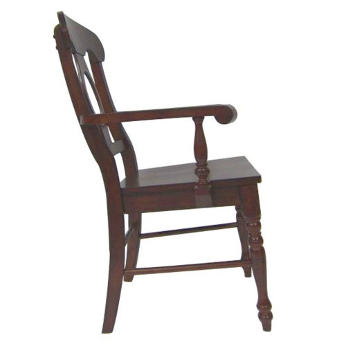 Andrews Dining - Napoleon Arm Chair finished in Chestnut brown - side view DLU-ADW-C50A-CT-2