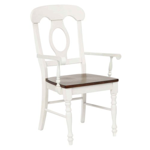Andrews Dining - Napoleon armchair finished in antique white with a chestnut seat three-quarter view DLU-ADW-C50A-AW-2