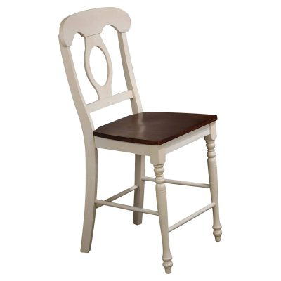 Andrews Dining - Napoleon barstool finished in antique white with a chestnut seat DLU-ADW-B50-AW-2