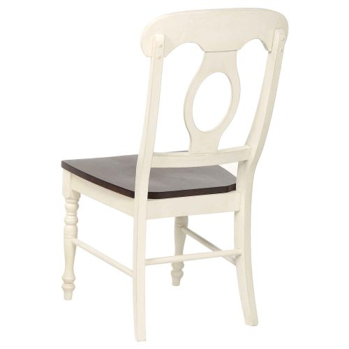 Andrews Dining - Napoleon dining chair finishedi n antique white with chestnut seat - back view DLU-ADW-C50-AW-2
