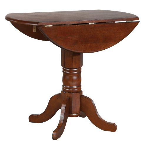 Andrews Dining - Round drop leaf pub table finished in distressed Chestnut leaf down DLU-ADW4242CB-CT