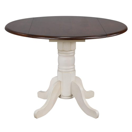 Andrews Dining Round drop leaf table finished in antique white with chestnut top DLU-ADW4242-AW