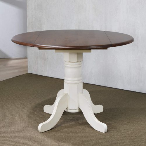 Andrews Dining Round drop leaf table finished in antique white with chestnut top - dining room setting DLU-ADW4242-AW