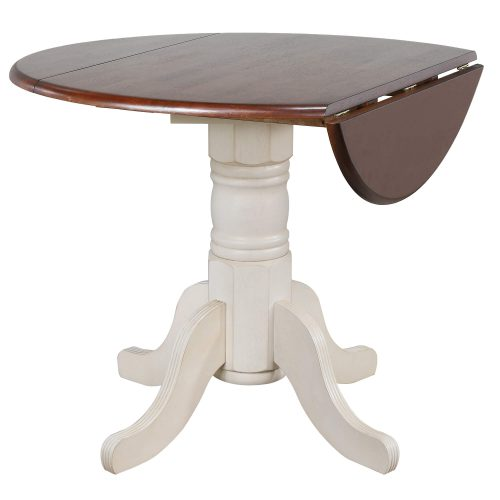 Andrews Dining Round drop leaf table finished in antique white with chestnut top - leaf down DLU-ADW4242-AW