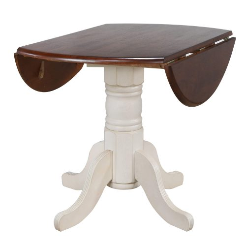 Andrews Dining Round drop leaf table finished in antique white with chestnut top - leaves down DLU-ADW4242-AW