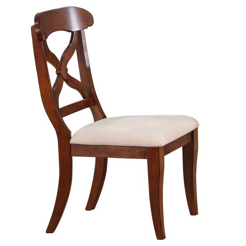Andrews Dining - Upholstered dining chair finished in chestnut - front view DLU-ADW-C12-CT-2