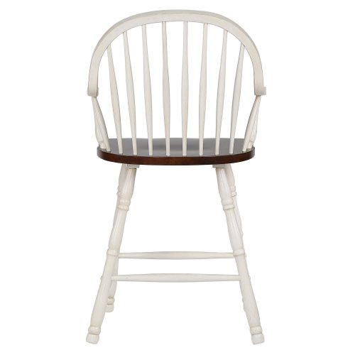 Andrews Dining - Windsor counter height stool with arms - finished in antique white with chestnut seat - back view DLU-ADW-B3024A-AW-2