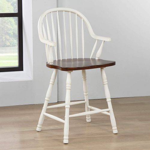 Andrews Dining - Windsor counter height stool with arms - finished in antique white with chestnut seat - dining room setting DLU-ADW-B3024A-AW-2