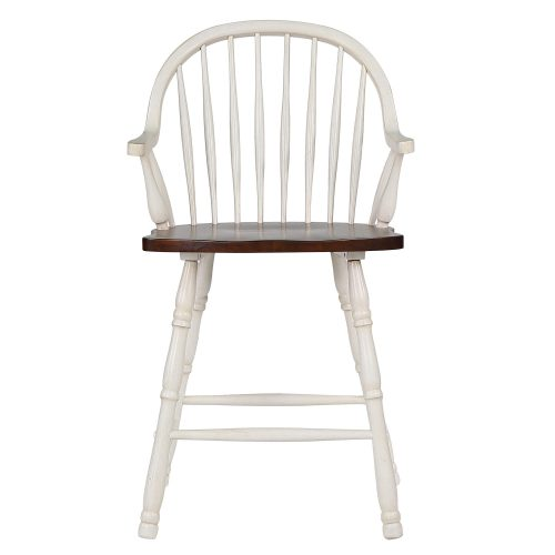 Andrews Dining - Windsor counter height stool with arms - finished in antique white with chestnut seat - front view DLU-ADW-B3024A-AW-2