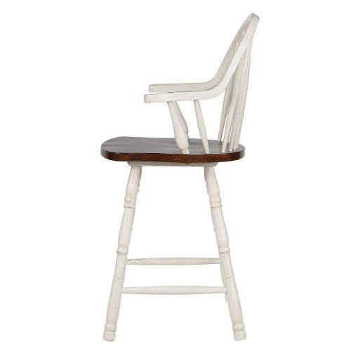 Andrews Dining - Windsor counter height stool with arms - finished in antique white with chestnut seat - left side view DLU-ADW-B3024A-AW-2