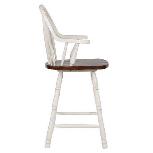 Andrews Dining - Windsor counter height stool with arms - finished in antique white with chestnut seat - side view DLU-ADW-B3024A-AW-2