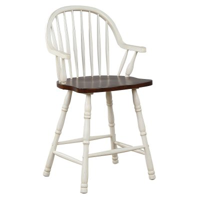 Andrews Dining - Windsor counter height stool with arms - finished in antique white with chestnut seat - three-quarter view DLU-ADW-B3024A-AW-2