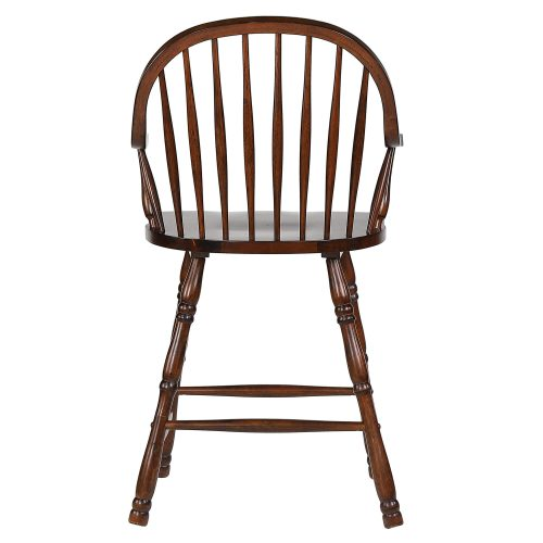 Andrews Dining - Windsor counter height stool with arms - finished in distressed chestnut - back view DLU-ADW-B3024A-CT-2
