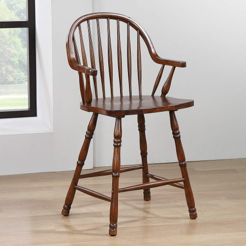 Andrews Dining - Windsor counter height stool with arms - finished in distressed chestnut - dining room setting DLU-ADW-B3024A-CT-2