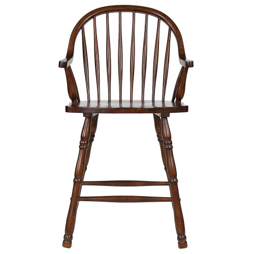 Andrews Dining - Windsor counter height stool with arms - finished in distressed chestnut - front view DLU-ADW-B3024A-CT-2