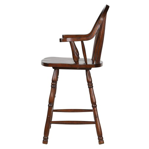 Andrews Dining - Windsor counter height stool with arms - finished in distressed chestnut - left side view DLU-ADW-B3024A-CT-2