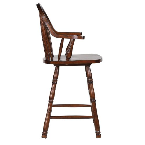 Andrews Dining - Windsor counter height stool with arms - finished in distressed chestnut - side view DLU-ADW-B3024A-CT-2
