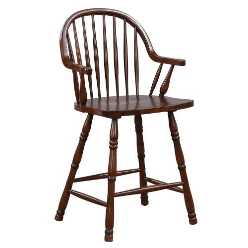 Andrews Dining - Windsor counter height stool with arms - finished in distressed chestnut - three-quarter view DLU-ADW-B3024A-CT-2