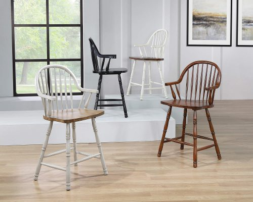 Andrews Dining - Windsor counter height stool with arms - various finishes DLU-ADW-B3024A-AW-2