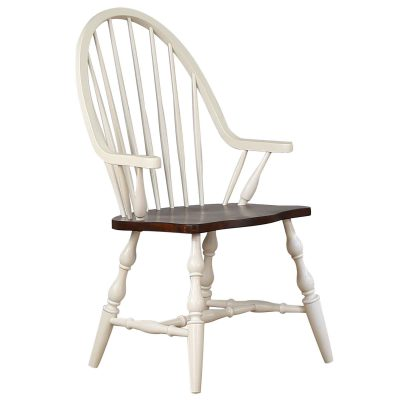 Andrews Dining - Windsor dining chair with arms - Antique white finish with chestnut seat DLU-ADW-C30A-AW