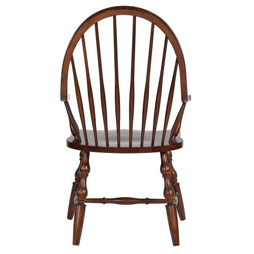 Andrews Dining - Windsor dining chair with arms - distressed chestnut finish - back view DLU-ADW-C30A-CT