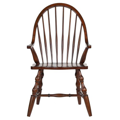 Andrews Dining - Windsor dining chair with arms - distressed chestnut finish - front view DLU-ADW-C30A-CT
