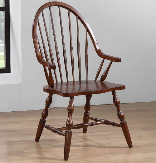 Andrews Dining - Windsor dining chair with arms - distressed chestnut finish - room setting DLU-ADW-C30A-CT