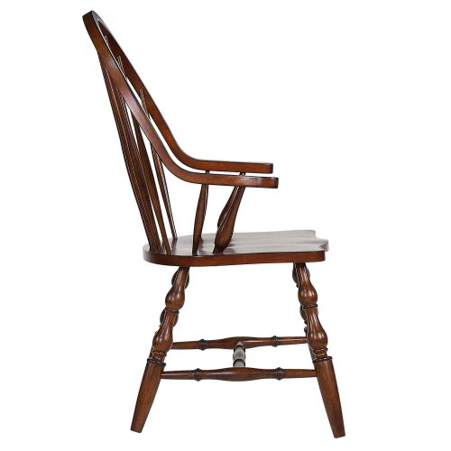 Andrews Dining - Windsor dining chair with arms - distressed chestnut finish - side view DLU-ADW-C30A-CT