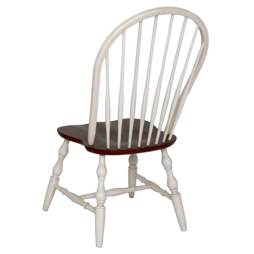 Andrews Dining - Windsor spindle back dining chairs fininshed in antique white with a chestnut seat - back view DLU-C30-AW-2