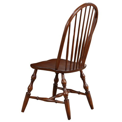 Andrews Dining - Windsor spindle back dining chairs fininshed in distressed chestnut - back view DLU-C30-CT-2