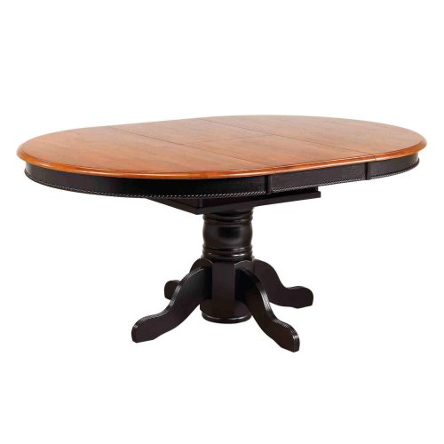 Black Cherry Selection - Pedestal table with Butterfly top finished in antique black with a Cherry top - open position DLU-TBX4866-BCH