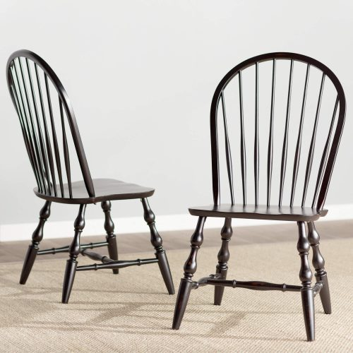 Black Cherry Selection - Windsor back dining chair - antique black finish - dining room setting DLU-C30-AB-2