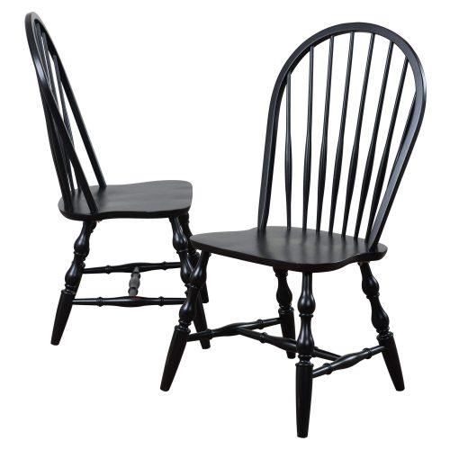 Black Cherry Selection - Windsor back dining chairs - antique black finish - DLU-C30-AB-2