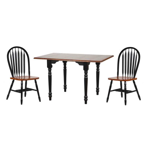 Black Cherry Selections 3-piece dining set - Drop leaf dining table with two Arrow-back chairs - finished in antique black with a cherry top and seats DLU-TLD3448-820-BCH3PC