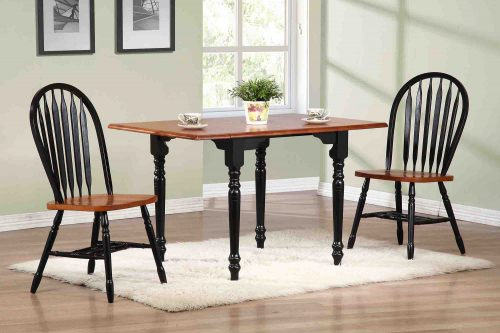 Black Cherry Selections 3-piece dining set - Drop leaf dining table with two Arrow-back chairs - finished in antique black with a cherry top and seats dining room setting DLU-TLD3448-820-BCH3PC