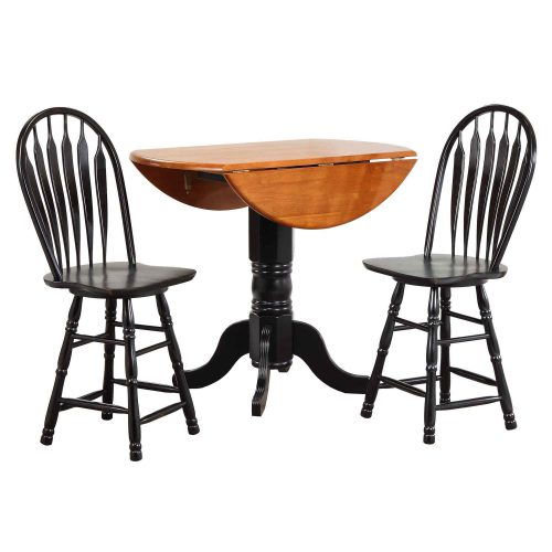 Black Cherry Selections - 3-piece dining set - Round drop leaf pub table with two Arrow-back swivel stools finished in antique black with cherry top DLU-TPD4242CB-B24-AB3PC