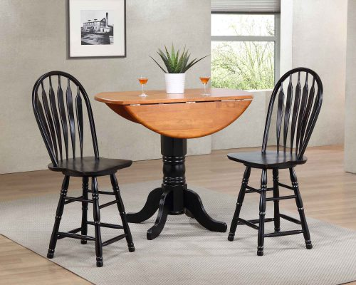 Black Cherry Selections - 3-piece dining set - Round drop leaf pub table with two Arrow-back swivel stools finished in antique black with cherry top - dining room setting DLU-TPD4242CB-B24-AB3PC
