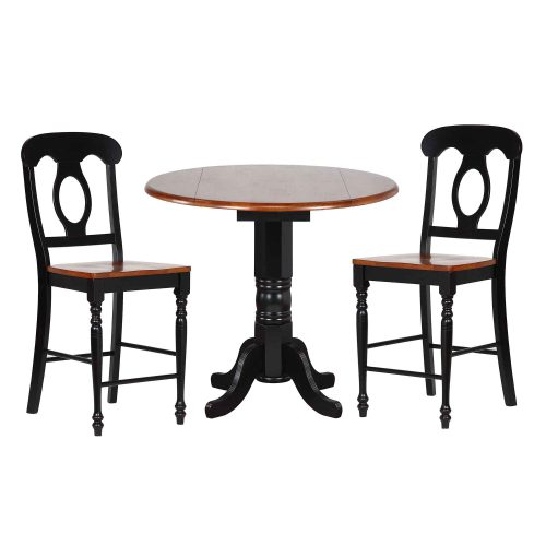 Black Cherry Selections - 3-piece dining set - Round drop leaf pub table with two Napoleon stools finished in antique black with cherry top and seats DLU-TPD4242CB-B50-BCH3PC
