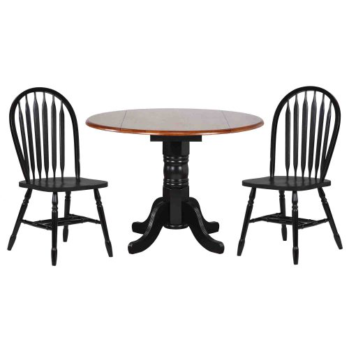 Black Cherry Selections - 3-piece dining set - Round drop leaf table with two Arrow-back chairs finished in antique black with cherry top DLU-TPD4242-820-AB3PC