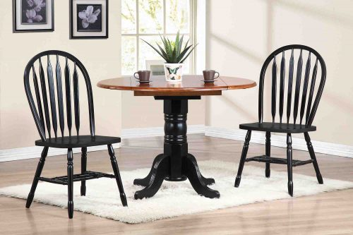 Black Cherry Selections - 3-piece dining set - Round drop leaf table with two Arrow-back chairs finished in antique black with cherry top - dining room setting DLU-TPD4242-820-AB3PC