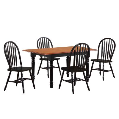 Black Cherry Selections - 5-piece dining set - Extendable dining table with four Arrow-back chairs - finished in antique black with cherry top DLU-TLB3660-820-AB5PC