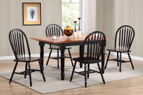 Black Cherry Selections - 5-piece dining set - Extendable dining table with four Arrow-back chairs - finished in antique black with cherry top dining room setting DLU-TLB3660-820-AB5PC