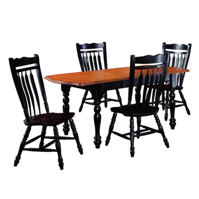 Black Cherry Selections - 5-piece dining set - Extendable dining table with four Aspen chairs - finished in antique black with cherry accents DLU-TDX3472-C10-AB5PC