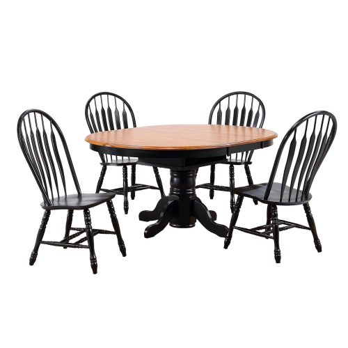 Black Cherry Selections - 5-piece dining set - Extendable dining table with four Comfort back chairs finished in antique black with a Cherry top and seats DLU-TBX4266-4130-AB5PC