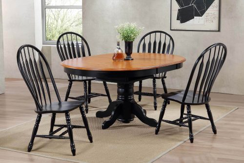 Black Cherry Selections - 5-piece dining set - Extendable dining table with four Comfort back chairs finished in antique black with a Cherry top and seats - dinng room setting DLU-TBX4266-4130-AB5PC