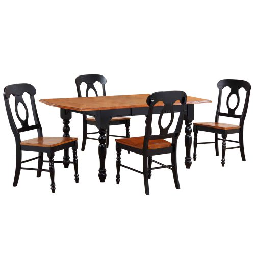 Black Cherry Selections - 5-piece dining set - Extendable dining table with four Napoleon chairs - finished in antique black with cherry accents DLU-TDX3472-C50-BCH5PC