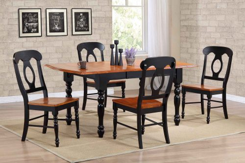 Black Cherry Selections - 5-piece dining set - Extendable dining table with four Napoleon chairs - finished in antique black with cherry accents - dining room setting DLU-TDX3472-C50-BCH5PC