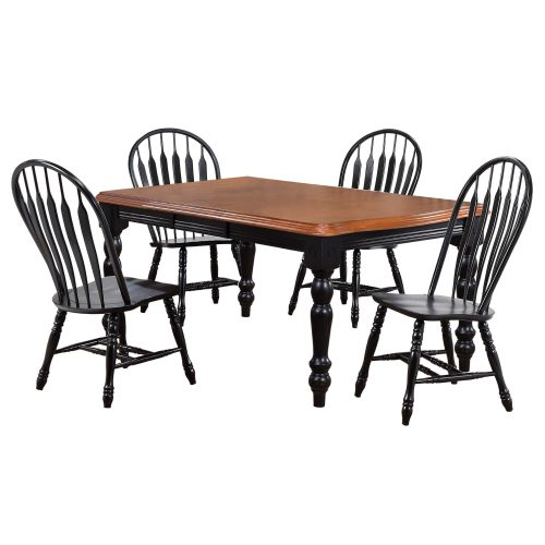 Black Cherry Selections - 5-piece dining set - extendable dining table with four comfort back chairs finished in antique black with a Cherry top and seats DLU-SLT4272-4130-AB5PC