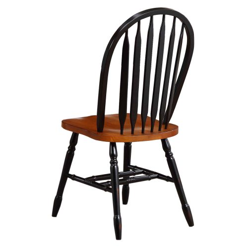 Black Cherry Selections - Arrow-back dining chair - 38 inches - finished in antique black with a Cherry seat - back view DLU-820-BCH-2